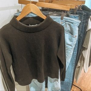 &Other Stories Black Wide Neck Mock Sweater